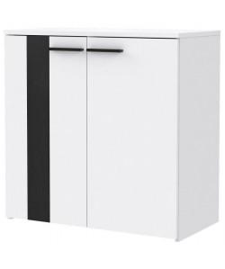 BOUNTY Buffet bas contemporain blanc mat et décor chene noir  L 80 cm