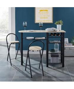 FIRST Ensemble table bar et tabourets contemporain en métal laqué noir et MDF revetu de PVC décor chene mat  L 119 cm