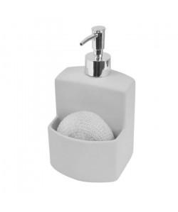 FRANDIS Flacon a pompe  porte éponge  Céramique Rubber  Bicolore Gris clair