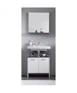 SAN DIEGO Ensemble meubles sousvasque  miroir de salle de bain L 60 cm  Blanc mat et gris