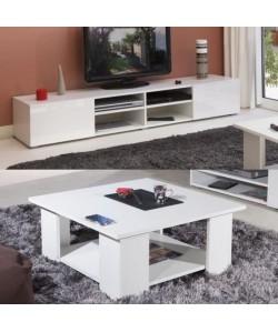LIME Salon complet coloris blanc brillant 2 pieces 1 meuble TV 185cm  1 table basse carrée
