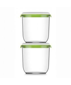 FOSA Lot de 2 récipients de mise sous vide alimentaire 21350  1350 ml  Blanc et vert