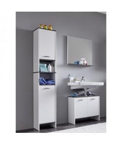 SAN DIEGO Ensemble meubles sousvasque  miroir  colonne de salle de bain L 60 cm  Blanc mat et gris