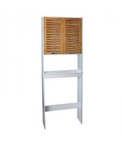 LINDA Armoire WC L 63 cm  Blanc mat et décor bois