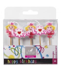 LE CHAT Lot de 5 bougies d\'anniversaire sur pic princesses  10 x 2,2 x H 211 cm  Rose et jaune