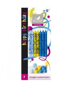 LE CHAT Lot de 7 bougies d\'anniversaire  8,7 x 0,8 x H 21 cm  Décor bleu