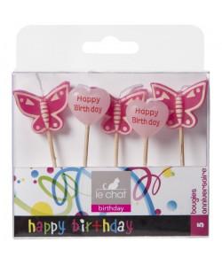 LE CHAT Lot de 5 bougies d\'anniversaire sur pic papillons et coeurs  10 x 2,2 x H 211 cm  Rose