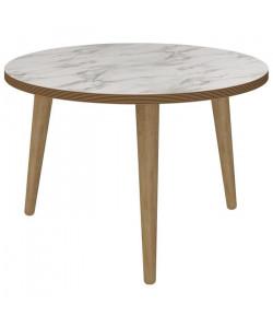 ROCK Table basse ronde scandinave effet marbre  Ř 60 cm