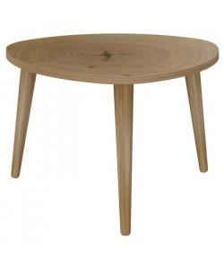 NATURE Table basse triangulaire scandinave effet tronc d\'arbre  L 60 x l 60 cm