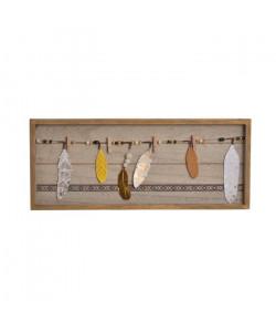 Portephotos mural Boho en bois  48 x 20 x 2,5 cm  Marron naturel