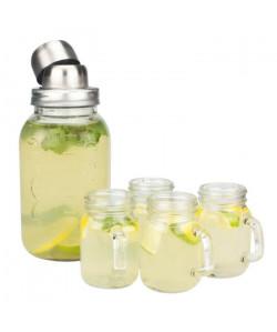 ARD\'TIME Coffret cocktail  Shaker en verre style vintage  4 mini pots a boire