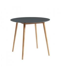 BABETTE Table a manger ronde de 2 a 4 personnes scandinave gris laqué satiné  Pieds en bois massif  ? 87 cm
