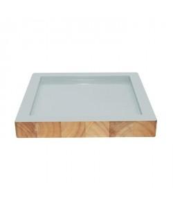 ECO DESIGN A14461 Assiette carrée Kesa Acacia  Pastel Mint  22x22x3 cm