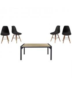 Ensemble table a manger 6 a 8 personnes TEXAS  4 chaises scandinaves RENA  Décor chene et noir satiné  L160xl90 et L52xP46,5 c