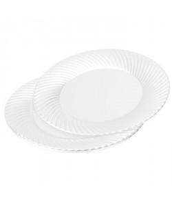 Lot de 6 assiettes rondes  Ř 25 cm  Blanc