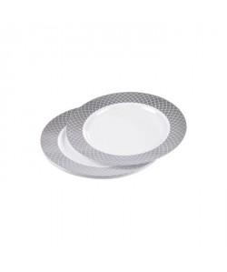 Lot de 6 assiettes blanches avec contour  Ř 19 cm  Argent
