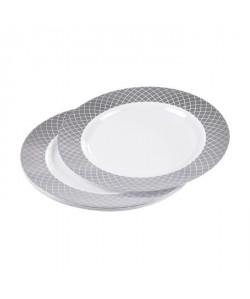 Lot de 6 assiettes blanches avec contour  Ř 23 cm  Argent