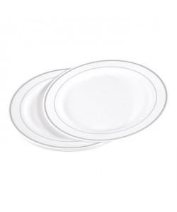 Lot de 6 assiettes blanches avec liseré argent diametre 23 cm