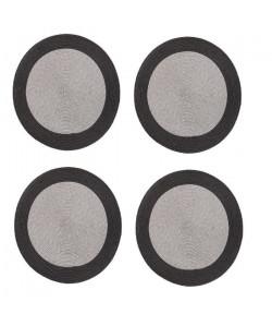 Lot de 4 sets de table rond Rommy  100% polypropylene  Ř 35 cm  Gris et ivoire