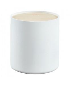PoeTIC Table d\'appoint ronde style contemporain blanc laqué mat avec plateau placage Paulownia  Ř 38 cm