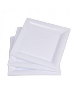Lot de 6 assiettes carrées jetables 23x23 cm blanc