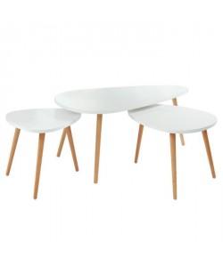 PIPPA 3 tables gigognes scandinave  Blanc mat  L 100 x l 60 cm / L 60 x l 45 cm et L 45 x l 45 cm