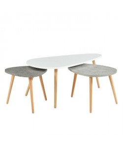 PIPPA 3 tables gigognes scandinave  Blanc / gris clair et gris foncé mat  L 100 x l 60 cm / L 60 x l 45 cm et L 45 x l 45 cm