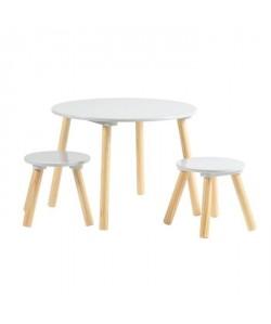 FAGOTIN Table ronde  2 tabourets pour enfant  Contemporain  Gris mat  Pieds en bois pin massif  Ř 60 et Ř 26 cm