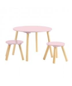 FAGOTIN Table ronde  2 tabourets pour enfant  Contemporain  Rose mat  Pieds en bois pin massif  Ř 60 et Ř 26 cm