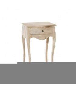 DIANE Table de chevet Baroque en teck blanchi  L 45 cm