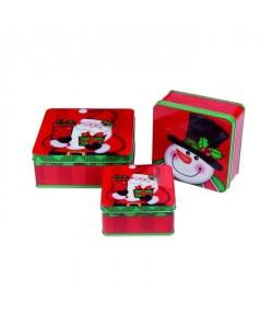 Set de 3 boîtes en métal carrées Bonhomme de neige  L 15 / 18 cm