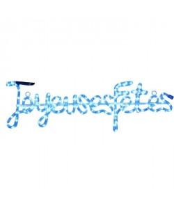 "Tube lumineux \""Joyeuses Fetes\""  4 m  Bleu  112 LEDS  16 flash"