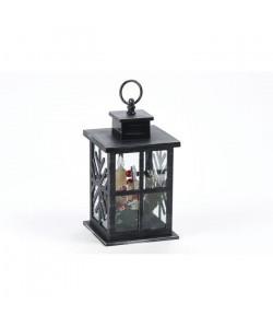 Lanterne déco noire avec 3 bougies LED en PVC  H 28 cm  Blanc chaud