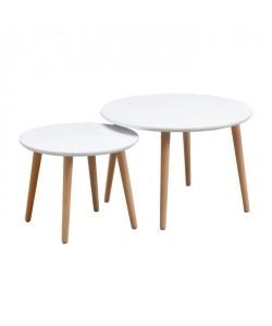 FINLANDEK 2 tables gigognes rondes INKERI scandinave  Blanc  L 60 x l 60 cm et L 45 x l 45 cm