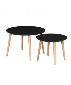 FINLANDEK 2 tables gigognes rondes INKERI scandinave  Noir  L 60 x l 60 cm et L 45 x l 45 cm