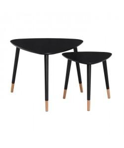 FINLANDEK 2 tables gigognes triangulaires LIMPIA scandinave  Noir  L 60 x l 60 cm et L 40 x l 40 cm