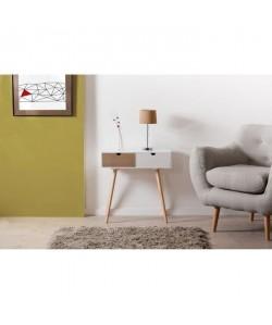 LORENZO Console scandinave en pin blanc et bois  2 tiroirs  L60 x P30 x H61 cm