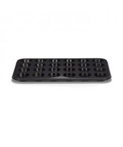 PATISSE Plaque a muffins antiadhésif en acier revetu  24 cavités  35 x 28 cm  Noir