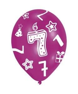 Lot de 6 Ballons  Latex  Bougie chiffre 7  Imprimé tous côtés