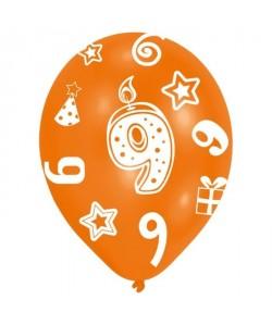 Lot de 6 Ballons  Latex  Bougie chiffre 9  Imprimé tous côtés