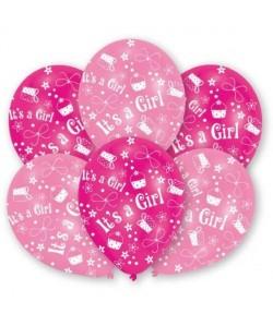 Lot de 6 Ballons  Latex  It\'s a Girl  Imprimé tous côtés