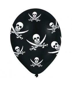 Lot de 6 Ballons  Latex  Tetes de mort  Imprimé tous côtés