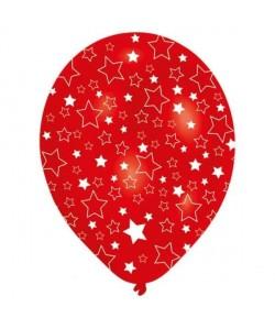 Lot de 6 Ballons  Latex  Étoiles blanches  Imprimé tous côtés