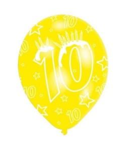 Lot de 6 Ballons  Latex  Nombre 10  Imprimé tous côtés