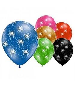 Lot de 6 Ballons  Latex  Feux d\'artifice  Imprimé tous côtés