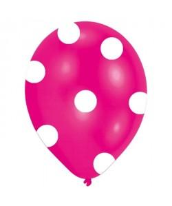 Lot de 6 Ballons  Latex  Pois  Imprimé tous côtés