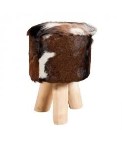 VALENCE Tabouret en teck et peau de chevre creme et marron  Style ethnique  L 31 x P 31 cm