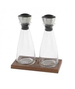 COLE&MASON FLOW SELECT Coffret huilier et vinaigrier doseurs H103588 22cm gris, noir et transparent