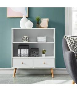 ANNETTE Bibliotheque scandinave décor blanc  pieds en bois eucalyptus  L 80 cm
