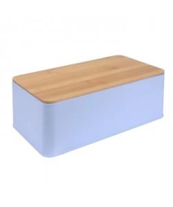 FRANDIS Boîte a pain rectangulaire  Métal  Couvercle bois bleu mat